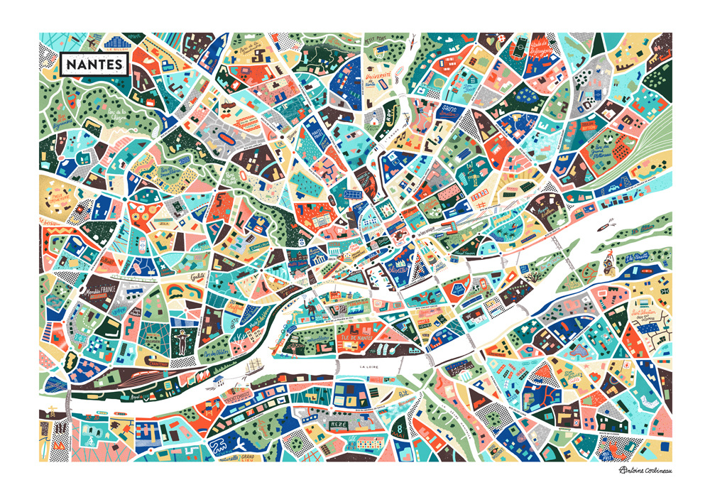A Map of Nantes Antoine Corbineau Illustration Design